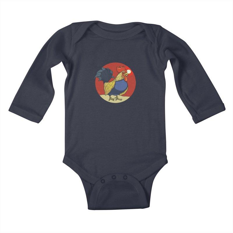 Rooster Zodiac Kids Baby Longsleeve Bodysuit by CB Design