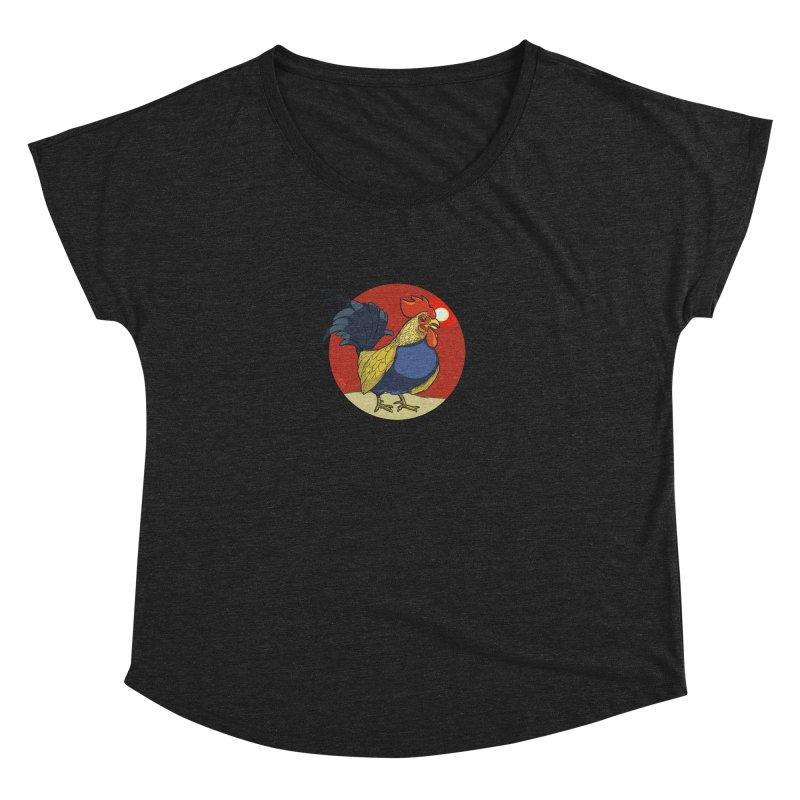 Rooster Zodiac Women's Dolman Scoop Neck by CB Design