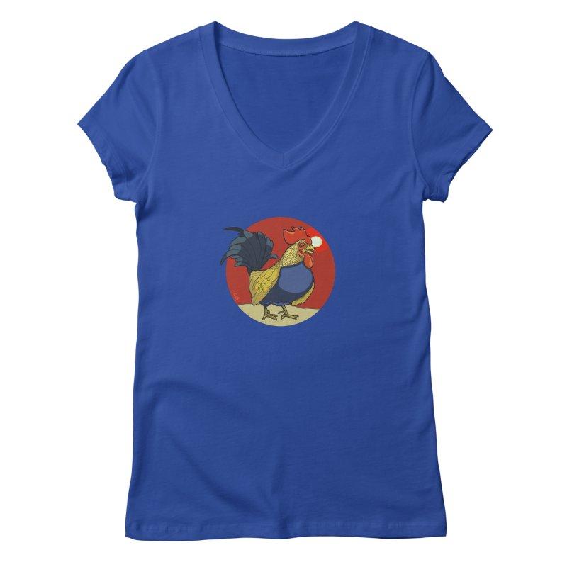 Rooster Zodiac Women's Regular V-Neck by CB Design