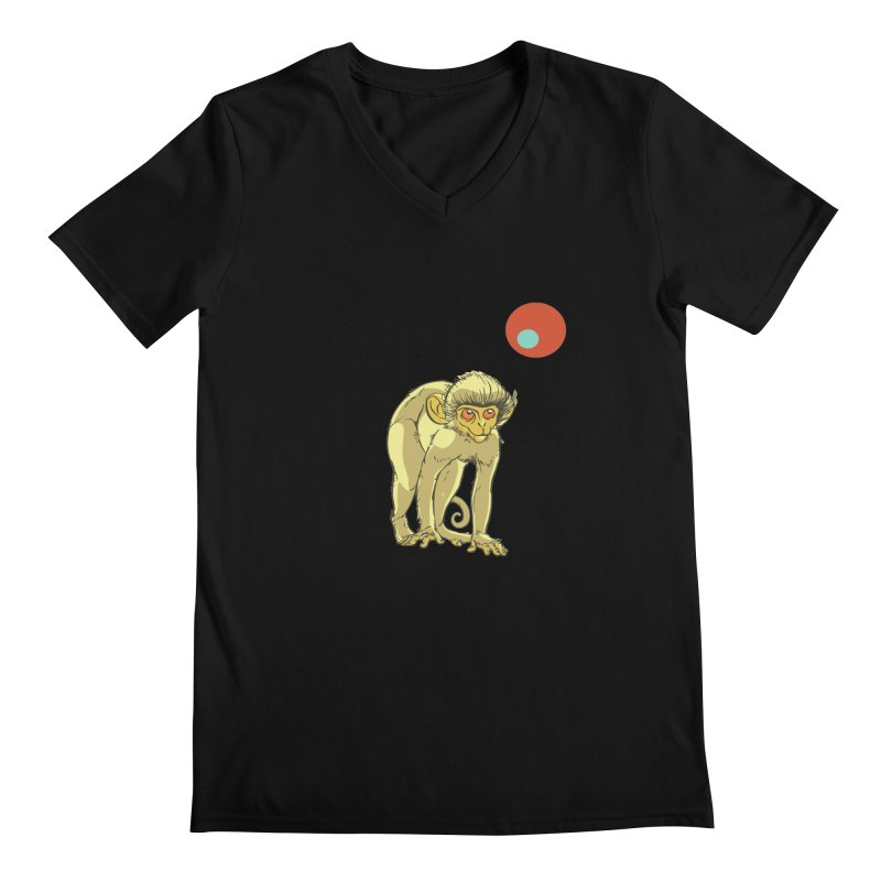 Monkey and Moon Men's Regular V-Neck by CB Design