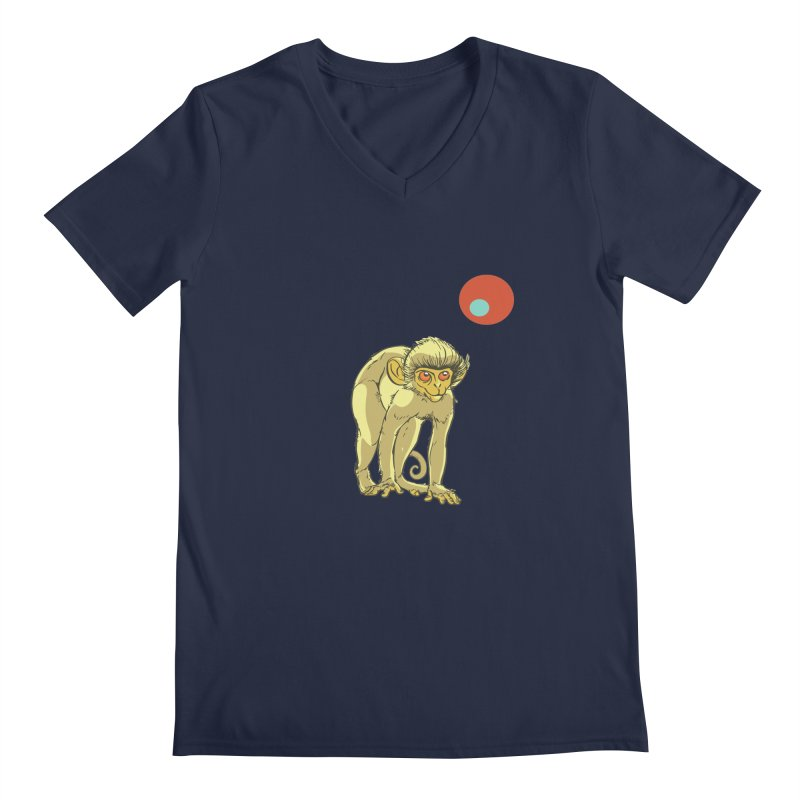 Monkey and Moon Men's V-Neck by CB Design