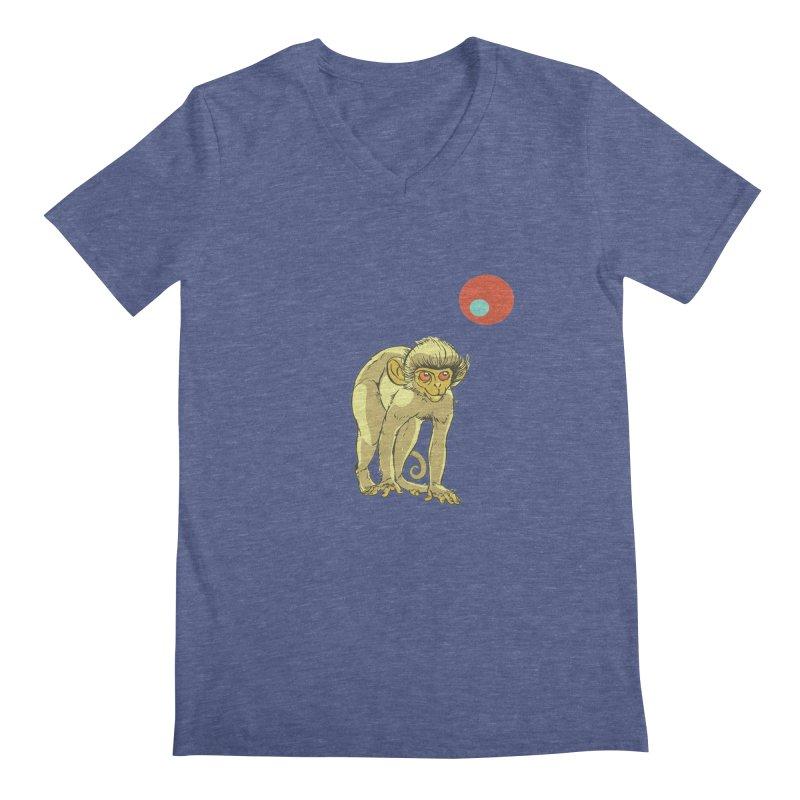 Monkey and Moon Men's Regular V-Neck by CB Design