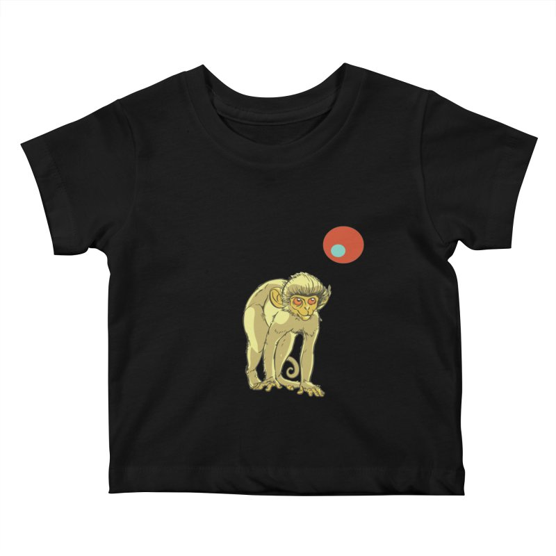 Monkey and Moon Kids Baby T-Shirt by CB Design