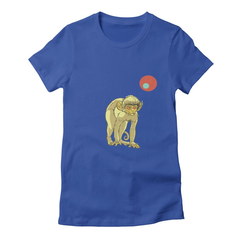 Monkey and Moon Women's Fitted T-Shirt by CB Design