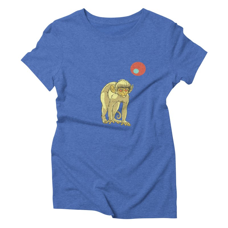 Monkey and Moon Women's Triblend T-Shirt by CB Design