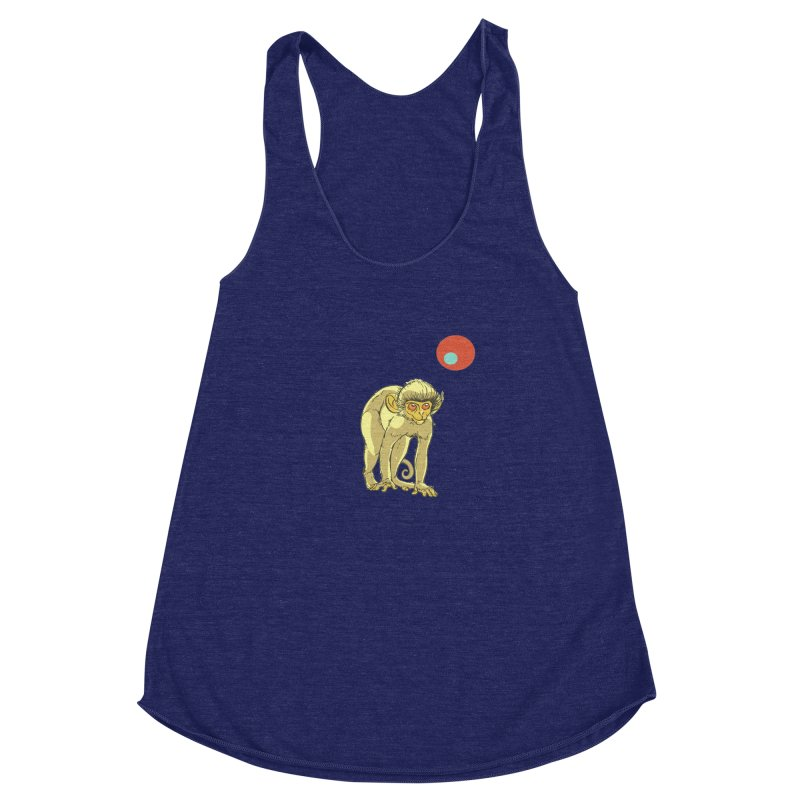 Monkey and Moon Women's Racerback Triblend Tank by CB Design
