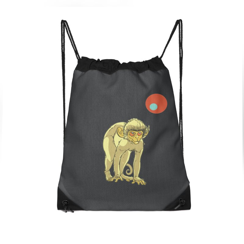 Monkey and Moon Accessories Drawstring Bag Bag by CB Design