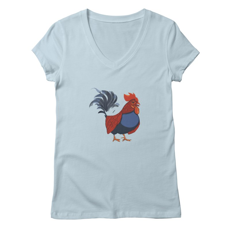 Rooster Women's Regular V-Neck by CB Design