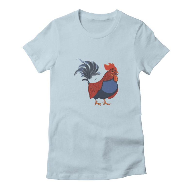 Rooster Women's Fitted T-Shirt by CB Design