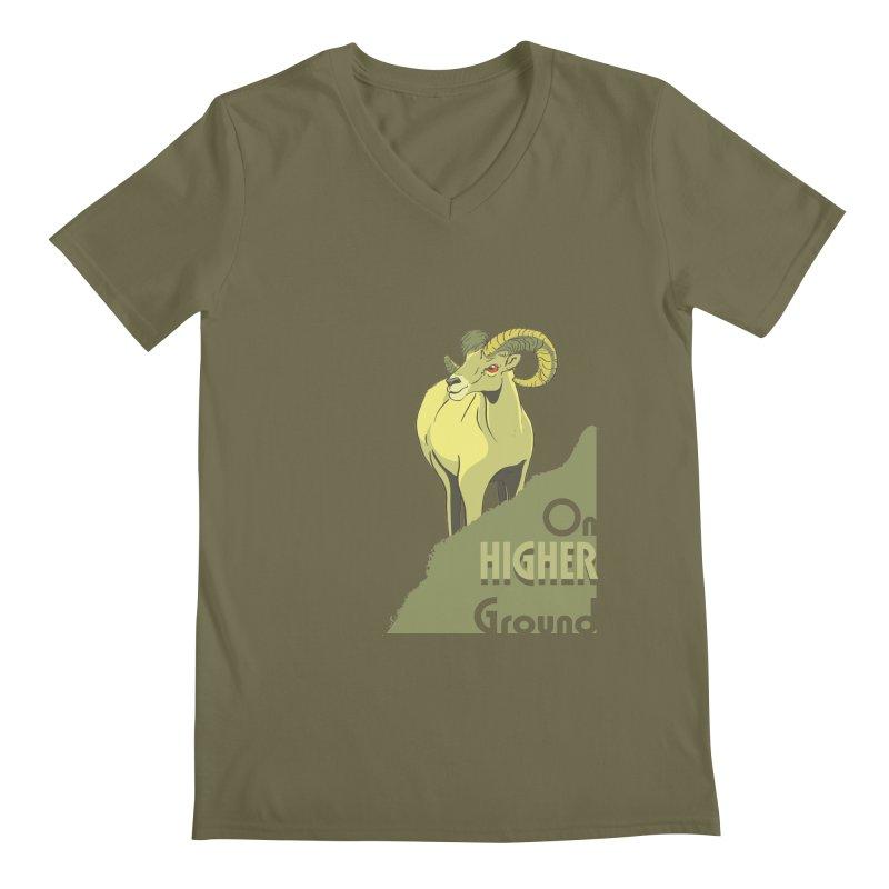Sheep on Higher Ground Men's Regular V-Neck by CB Design