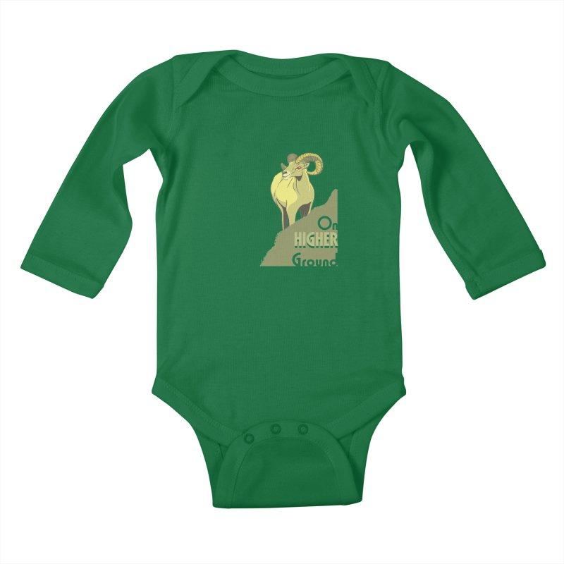 Sheep on Higher Ground Kids Baby Longsleeve Bodysuit by CB Design