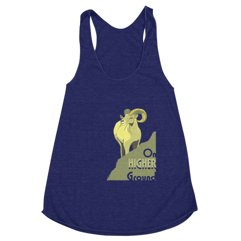 Sheep on Higher Ground Women's Racerback Triblend Tank by CB Design