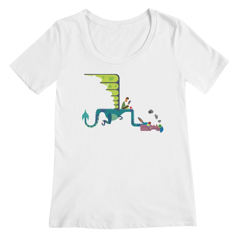 Book Dragon/ tees and sweaters Women's Regular Scoop Neck by CDFBstuff