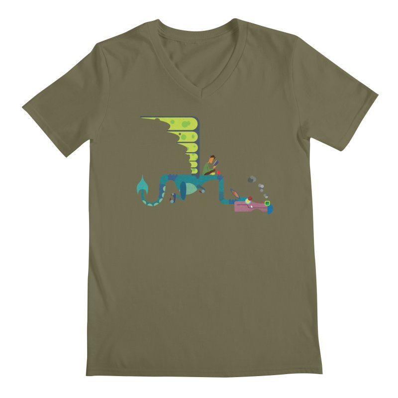 Book Dragon/ tees and sweaters Men's Regular V-Neck by CDFBstuff