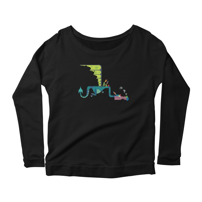Book Dragon/ tees and sweaters Women's Scoop Neck Longsleeve T-Shirt by CDFBstuff