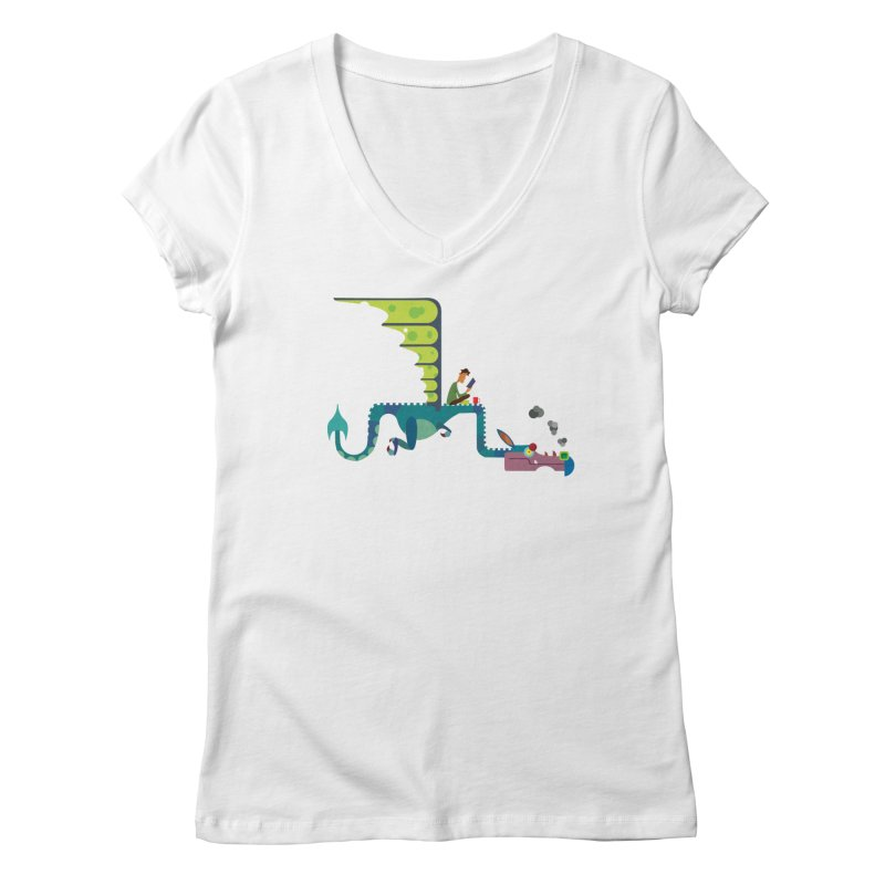 Book Dragon/ tees and sweaters Women's Regular V-Neck by CDFBstuff
