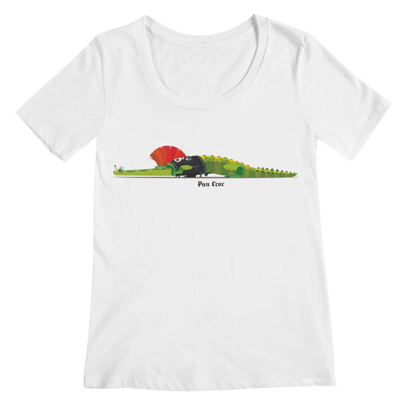 Pun Croc small/ tees and sweaters (light colours) Women's Regular Scoop Neck by CDFBstuff