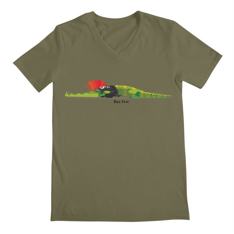 Pun Croc small/ tees and sweaters (light colours) Men's Regular V-Neck by CDFBstuff