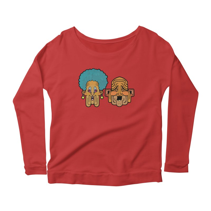 Old Folk/ tees and sweaters in Women's Scoop Neck Longsleeve T-Shirt Red by CDFBstuff