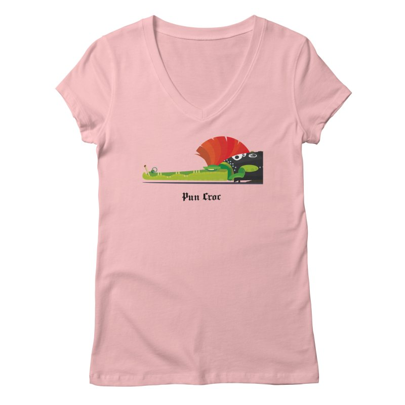 Pun Croc/ tees and sweaters (light colours) Women's Regular V-Neck by CDFBstuff