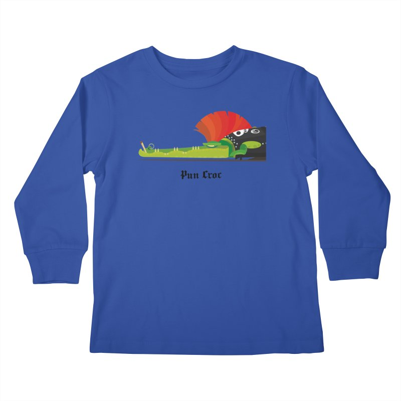 Pun Croc/ tees and sweaters (light colours) Kids Longsleeve T-Shirt by CDFBstuff