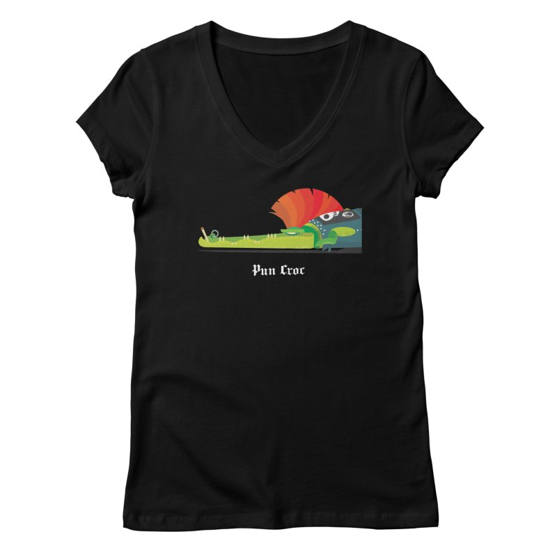 Pun Croc/ tees and sweaters (dark colours) Women's Regular V-Neck by CDFBstuff