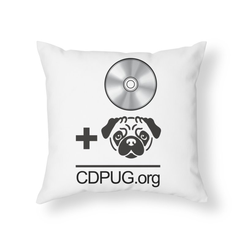 CD + PUG logo by Jeff Poplar Home Throw Pillow by CDPUG's Artist Shop