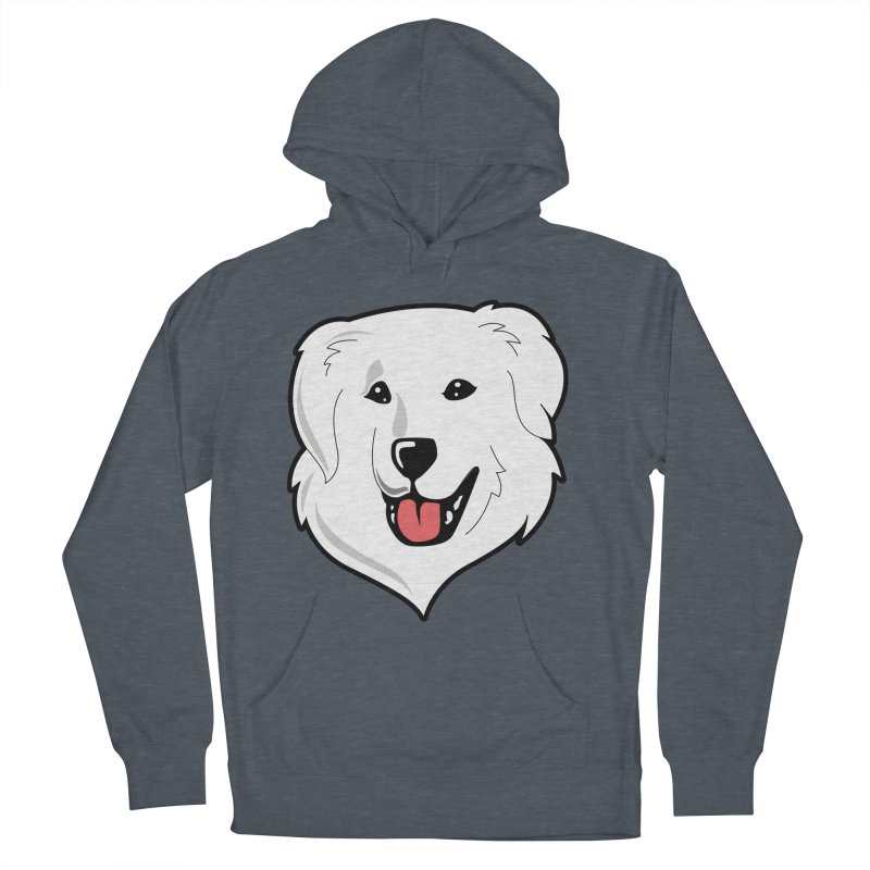 Happy Pyr on color backgrounds Women's French Terry Pullover Hoody by Carolina Great Pyrenees Rescue's Shop