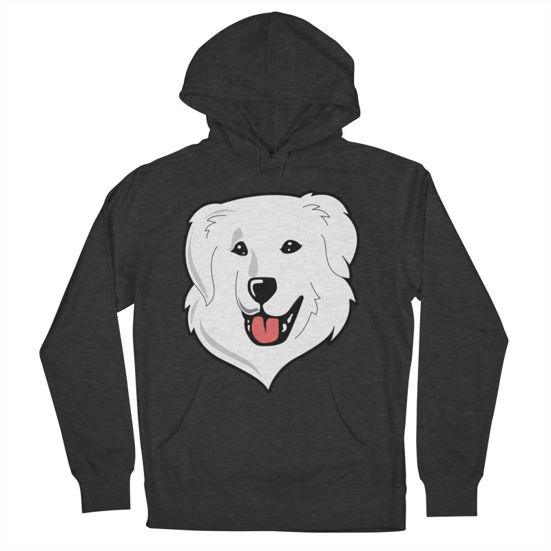 Happy Pyr on color backgrounds Men's Pullover Hoody by Carolina Great Pyrenees Rescue's Shop
