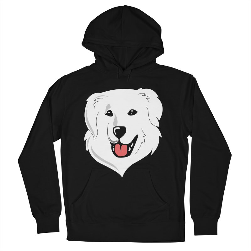 Happy Pyr on color backgrounds Men's French Terry Pullover Hoody by Carolina Great Pyrenees Rescue's Shop