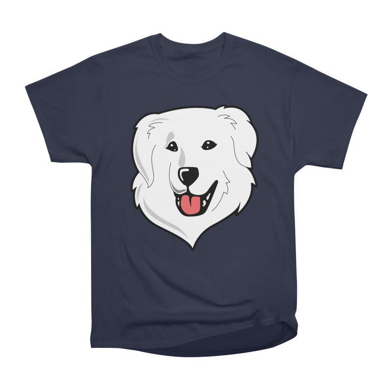 Happy Pyr on color backgrounds Women's Heavyweight Unisex T-Shirt by Carolina Great Pyrenees Rescue's Shop