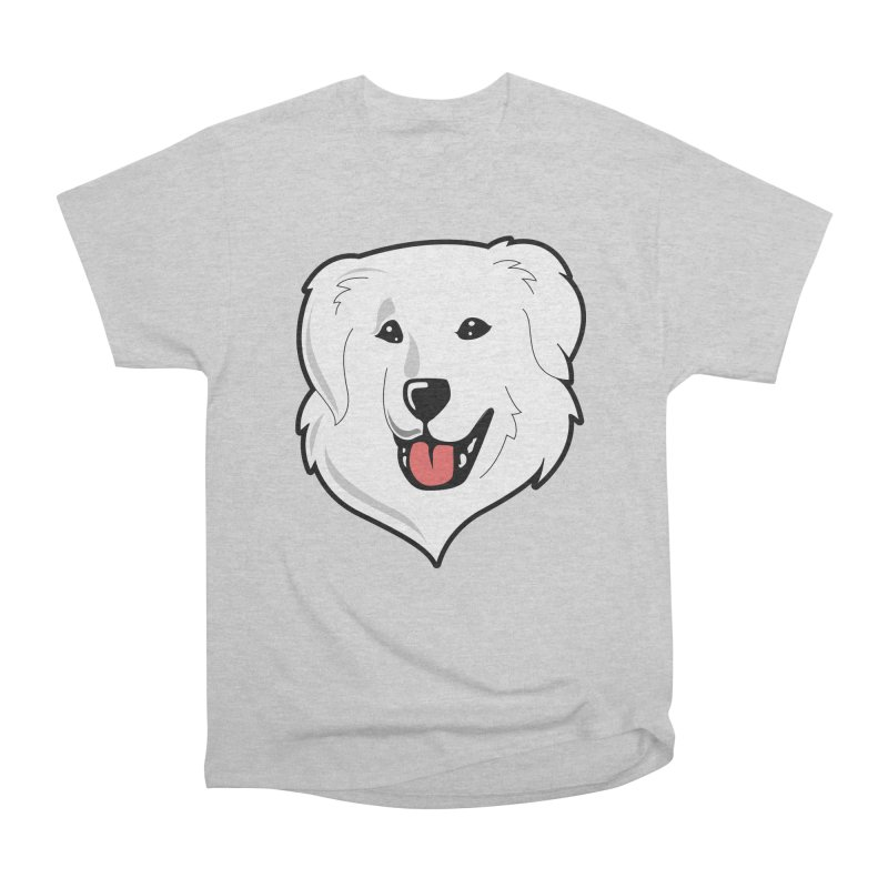 Happy Pyr on color backgrounds Men's Heavyweight T-Shirt by Carolina Great Pyrenees Rescue's Shop