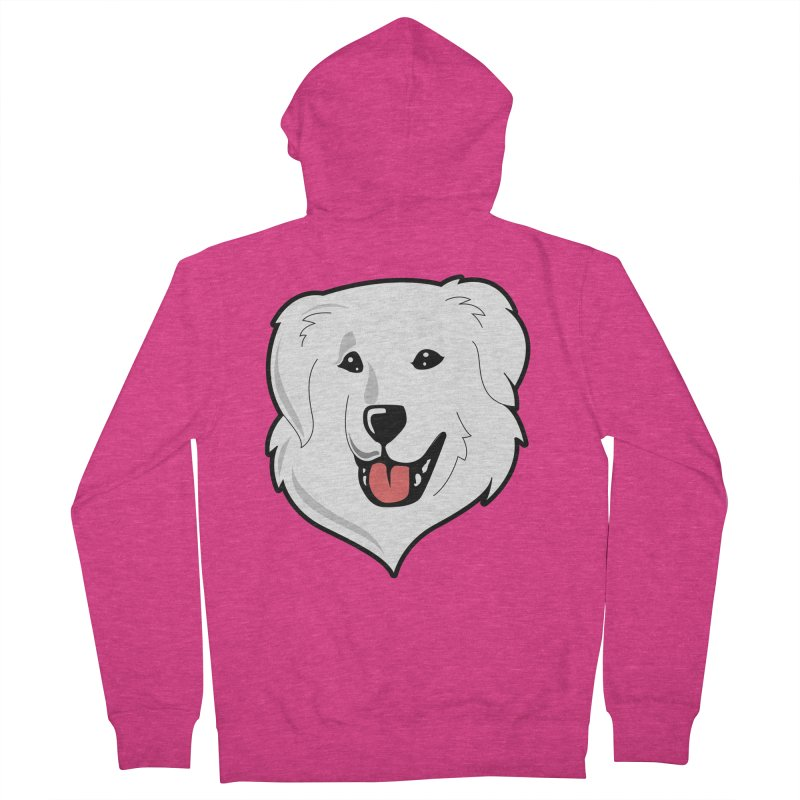 Happy Pyr on color backgrounds Women's French Terry Zip-Up Hoody by Carolina Great Pyrenees Rescue's Shop
