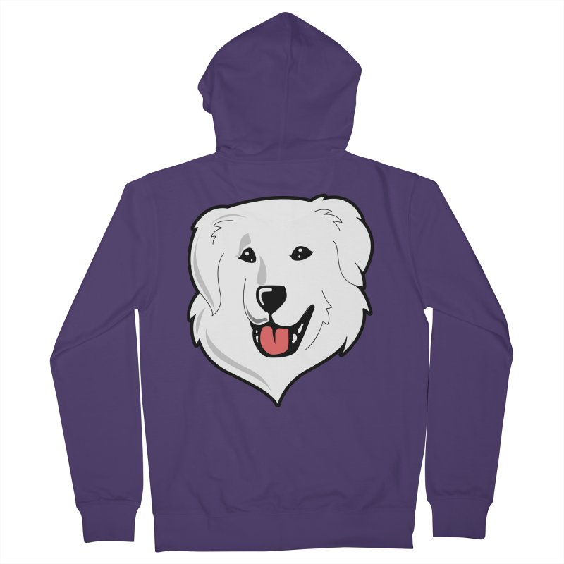 Happy Pyr on color backgrounds Women's Zip-Up Hoody by Carolina Great Pyrenees Rescue's Shop