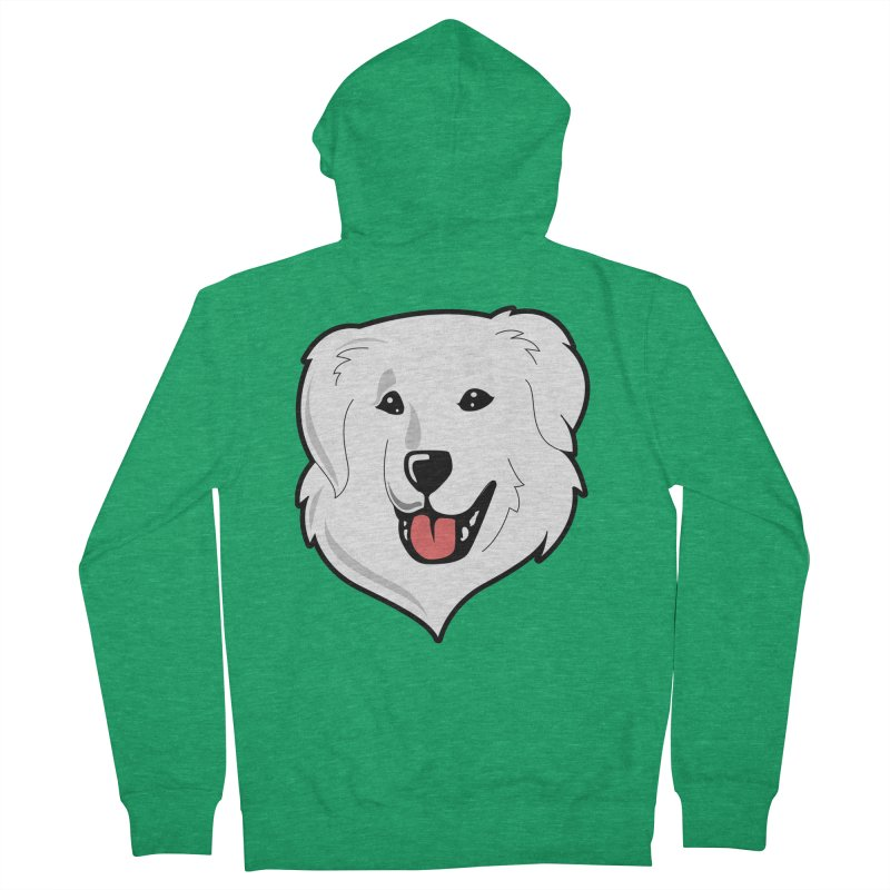Happy Pyr on color backgrounds Men's French Terry Zip-Up Hoody by Carolina Great Pyrenees Rescue's Shop