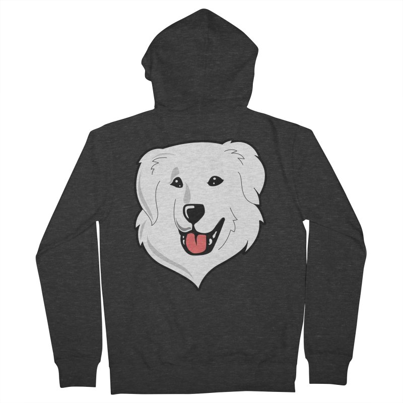 Happy Pyr on color backgrounds Men's Zip-Up Hoody by Carolina Great Pyrenees Rescue's Shop