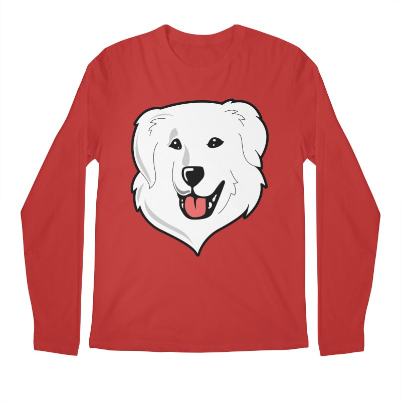 Happy Pyr on color backgrounds Men's Regular Longsleeve T-Shirt by Carolina Great Pyrenees Rescue's Shop