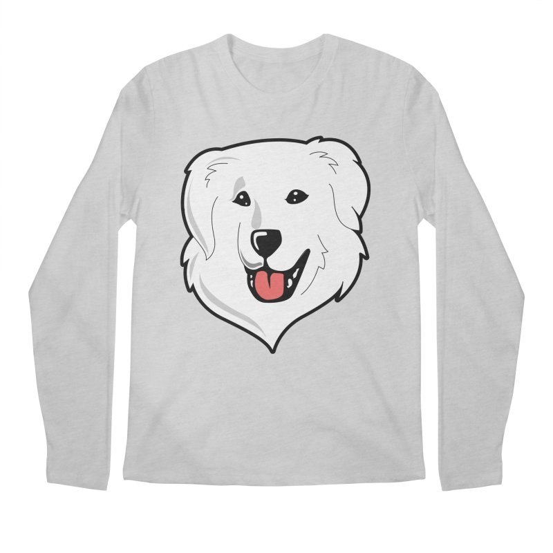 Happy Pyr on color backgrounds Men's Longsleeve T-Shirt by Carolina Great Pyrenees Rescue's Shop