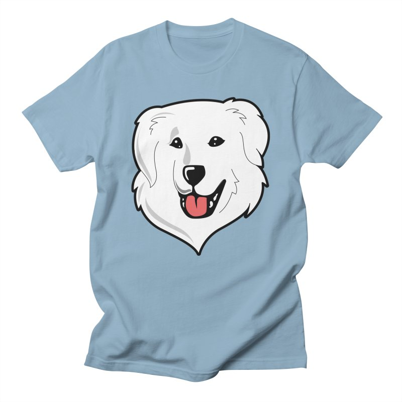 Happy Pyr on color backgrounds Men's T-Shirt by Carolina Great Pyrenees Rescue's Shop