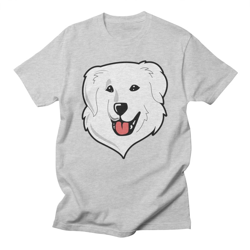 Happy Pyr on color backgrounds Women's Regular Unisex T-Shirt by Carolina Great Pyrenees Rescue's Shop