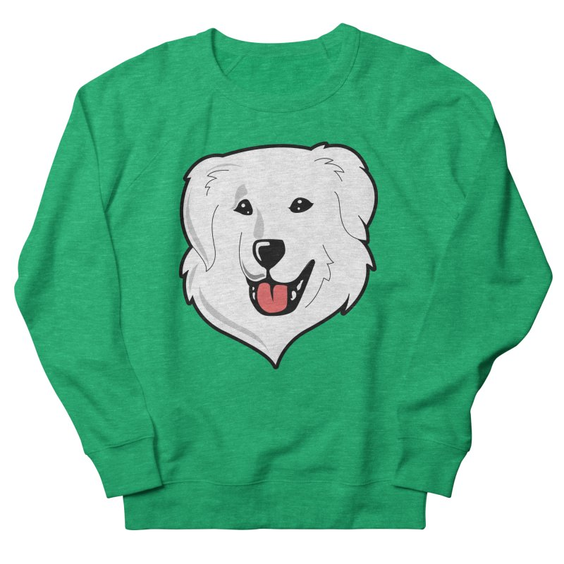 Happy Pyr on color backgrounds Women's Sweatshirt by Carolina Great Pyrenees Rescue's Shop
