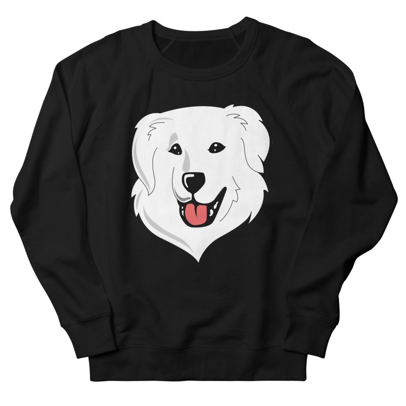 Happy Pyr on color backgrounds Women's French Terry Sweatshirt by Carolina Great Pyrenees Rescue's Shop