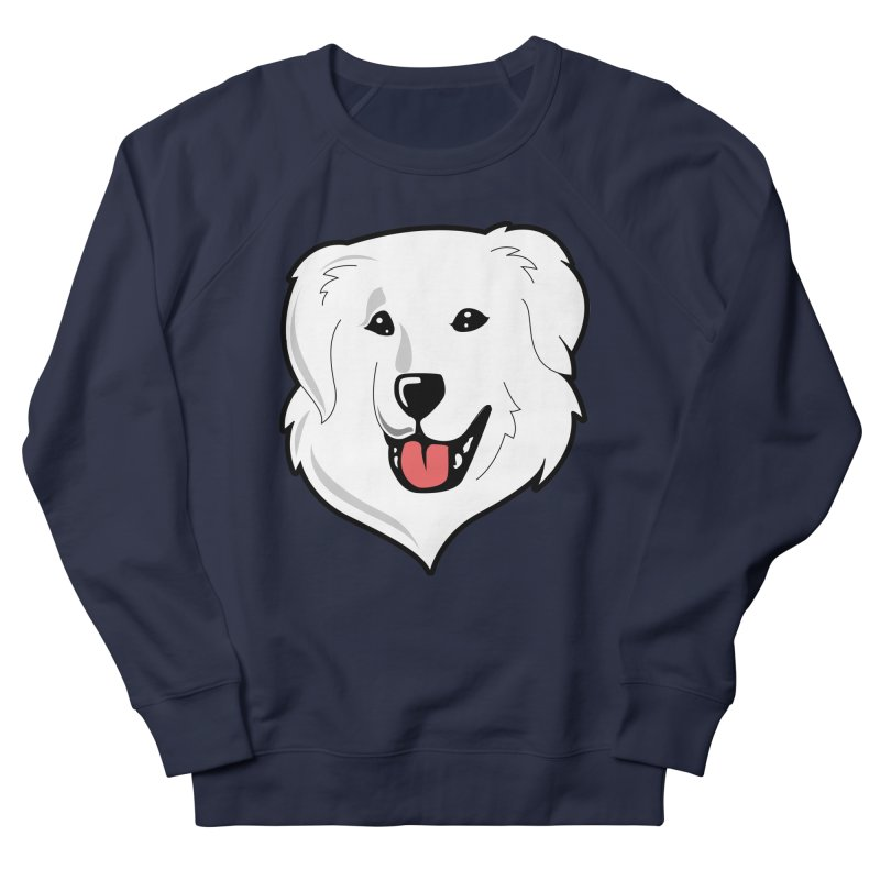 Happy Pyr on color backgrounds Men's French Terry Sweatshirt by Carolina Great Pyrenees Rescue's Shop