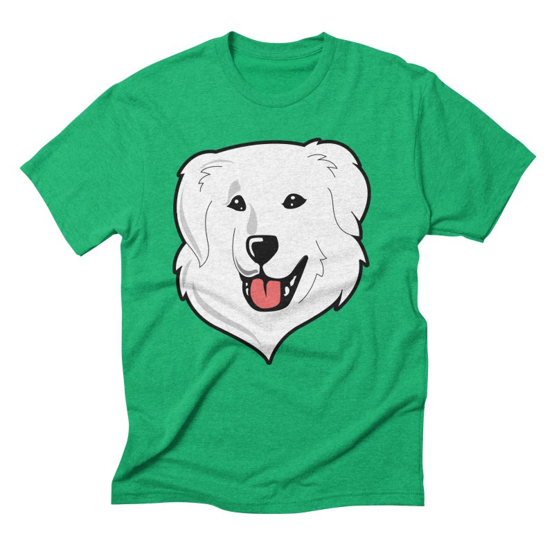 Happy Pyr on color backgrounds Men's Triblend T-Shirt by Carolina Great Pyrenees Rescue's Shop