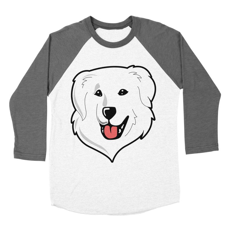Happy Pyr on color backgrounds Women's Baseball Triblend T-Shirt by Carolina Great Pyrenees Rescue's Shop