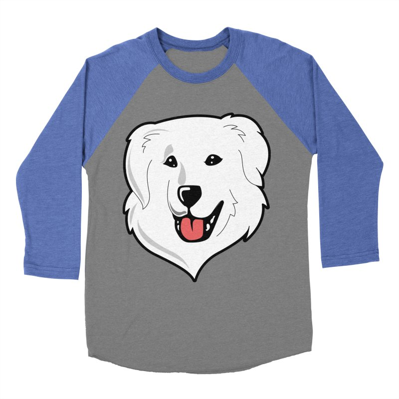 Happy Pyr on color backgrounds Men's Baseball Triblend T-Shirt by Carolina Great Pyrenees Rescue's Shop