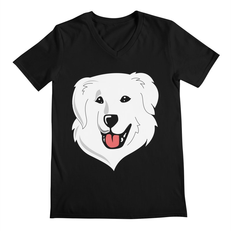 Happy Pyr on color backgrounds Men's V-Neck by Carolina Great Pyrenees Rescue's Shop