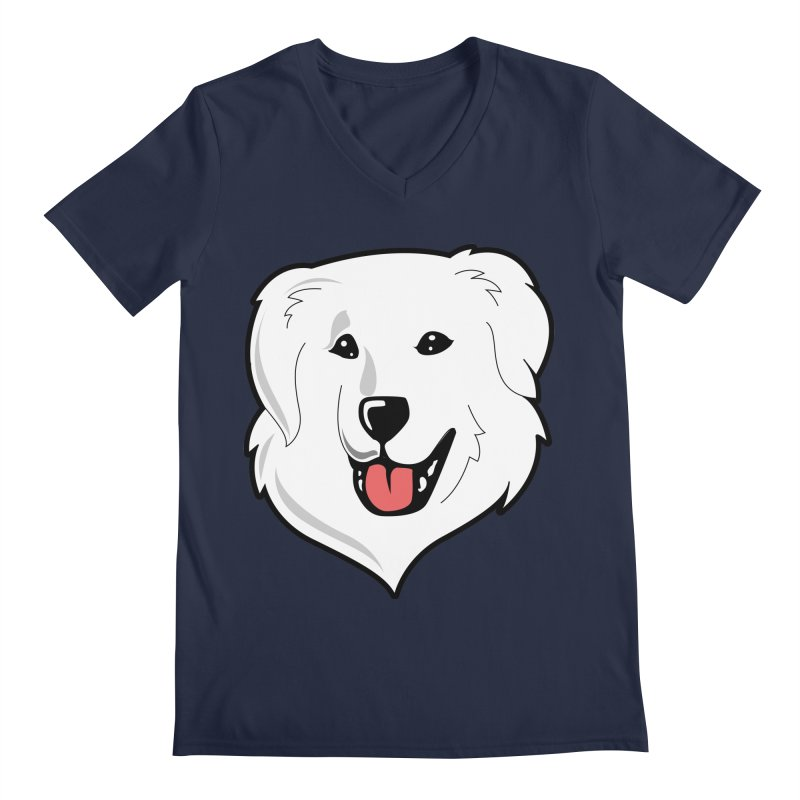 Happy Pyr on color backgrounds Men's Regular V-Neck by Carolina Great Pyrenees Rescue's Shop