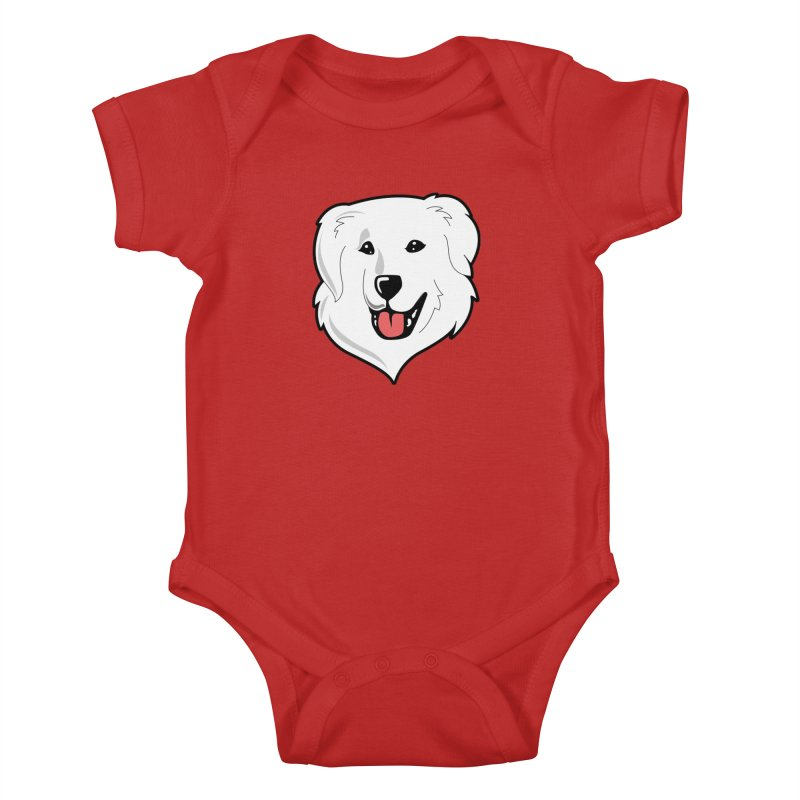 Happy Pyr on color backgrounds Kids Baby Bodysuit by Carolina Great Pyrenees Rescue's Shop