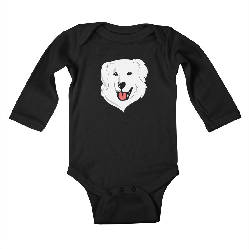 Happy Pyr on color backgrounds Kids Baby Longsleeve Bodysuit by Carolina Great Pyrenees Rescue's Shop